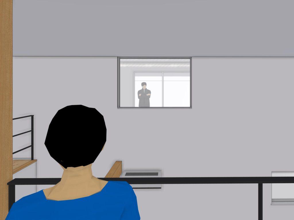 3D設計図で2Fから隣の家の窓を見ている図